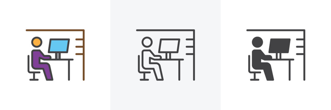 Workplace desk icon. Line, glyph and filled outline colorful version, Office worker outline and filled vector sign. Symbol, logo illustration. Different style icons set. Vector graphics