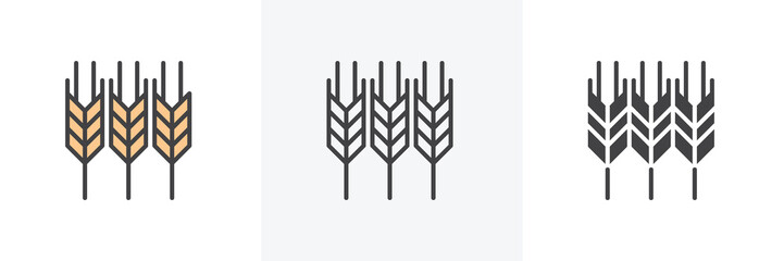 Ears of wheat icon. Line, glyph and filled outline colorful version, Wheat, barley outline and filled vector sign. Agriculture symbol, logo illustration. Different style icons set. Vector graphics