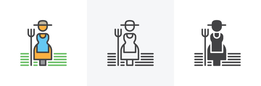 Farmer woman with hayfork icon. Line, glyph and filled outline colorful version, Female gardener with pitchfork outline and filled vector sign. Symbol, logo illustration. Different style icons set.