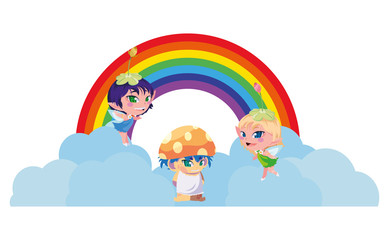Door stickers Rainbow beautiful magic fairies with fungu elf and rainbow