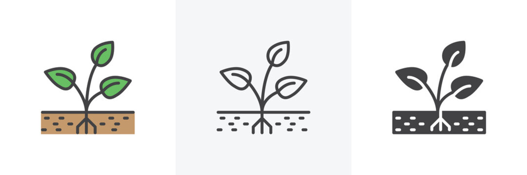 Plant with root in soil icon. Line, glyph and filled outline colorful version, Sprout grow outline and filled vector sign. Symbol, logo illustration. Different style icons set. Vector graphics