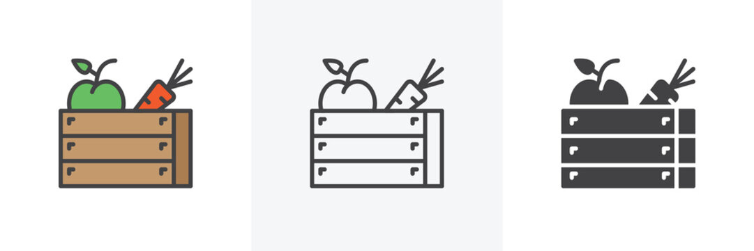 Harvest wooden box icon. Line, glyph and filled outline colorful version, Carrot and apple in box outline and filled vector sign. Symbol, logo illustration. Different style icons set. Vector graphics