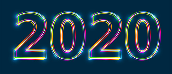 Colorful multi-layered outline of 2020 with glowing light effect on blue background