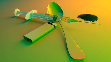 Heroin, cocaine, tools to get a dose of drugs. Syringe, lighter and spoon. Addiction and dependence. Overdose. Methamphetamine. 3d render