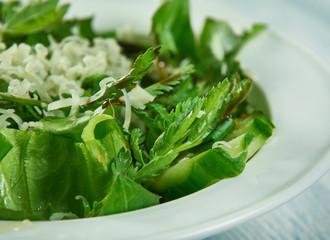 Spring salad with herbs, dandelion, nettle