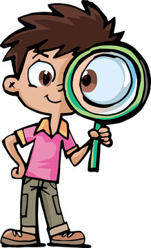 boy researcher with a magnifying glass