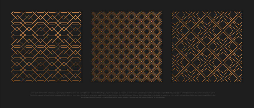 Vector set of design elements, labels and frames for packaging for luxury products in trendy linear style.