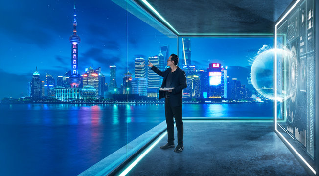 Businessman in suit working with virtual 3d holographic interface screens . Futuristic business, technology, internet and social networking  technology concept .