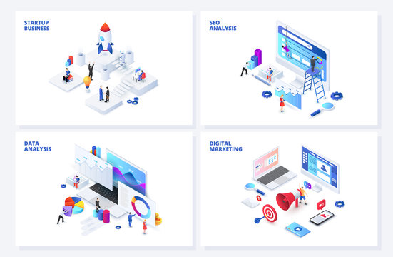Isometric 3d illustrations set. Startup, seo and data analysis, digital marketing with characters.