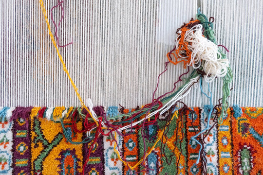 Loom for hand weaving carpet close-up view