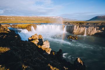 Attractive view of powerful Godafoss cascade. Location Skjalfandafljot river, Iceland, Europe.