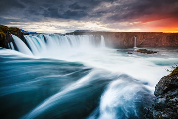Amazing view of powerful Godafoss cascade. Location Skjalfandafljot river, Iceland.
