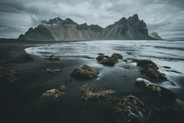 In de dag Bleke violet Exotic landscape of the volcanic beach. Location Stokksnes cape, Vestrahorn, Iceland, Europe.