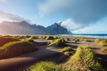 Majestic landscape on sunny day. Location Stokksnes cape, Vestrahorn (Batman Mount), Iceland.
