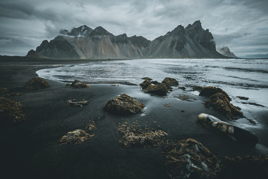 Exotic landscape of the volcanic beach. Location Stokksnes cape, Vestrahorn, Iceland, Europe.