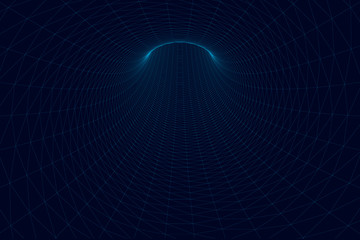 Polygonal tunnel of blue lines on a dark background. Tunnel leading up. Vector illustration