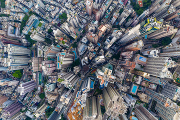 Fototapete - Top view of Hong Kong business district