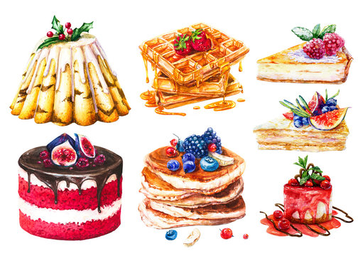 Watercolor set of cakes, sweet pastries. Hand-drawn pancakes, waffles with honey and pieces of cheesecake and honey cake, berry jam cake, Christmas cake and Red Velvet cake.