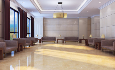 View of the interior of the lobby in the office building. Reception Business background.. 3D rendering Wall mural