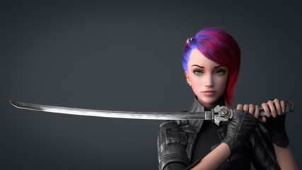 Portrait of a young beautiful cyberpunk girl looking at the camera and holding a futuristic katana sword with two hands. Urban woman with short red hair and blue eyes. 3d render on a gray background.