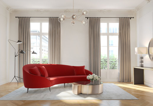 3d rendering of a contemporary modern Parisian apartment