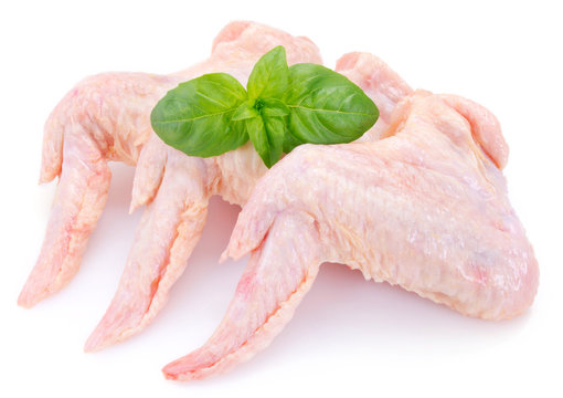 Raw chicken wings on white background
