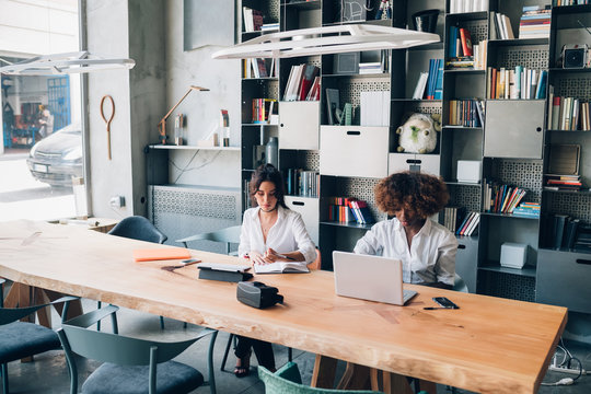 two multiracial students working on a project in a co working office