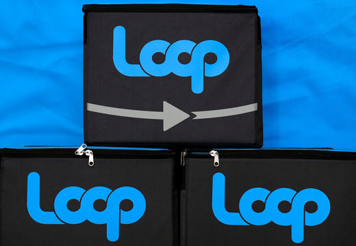 Delivery boxes with the logo of Loop are displayed before the news conference held by French retailer Carrefour and U.S. waste recycling firm TerraCycle to launch Loop, an e-commerce service to cut the flow of single-use plastic containers in Paris