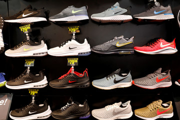 Nike shoes are seen displayed at a sporting goods store in New York