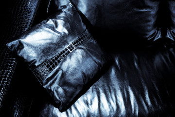 cushion on the black couch