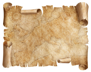 Wall Mural - Vintage Europe map parchment isolated on white. Based on image furnished from NASA.