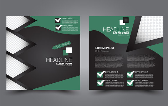Square flyer design. A cover for brochure.  Website or advertisement banner template. Vector illustration. Green color.