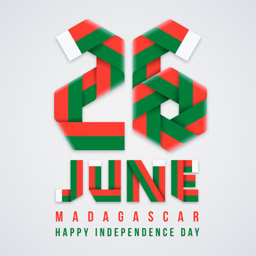 June 26, Madagascar Independence Day congratulatory design with Malagasy flag colors. Vector illustration.