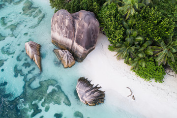 Aerial view of the granite rocks at Anse Source D'Argent beach in Seychelles , Africa