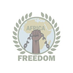 Color illustration on the theme of freedom. African content hand with chain of laurel leaves and text. Liberty Africa