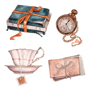 Watercolor illustration. A pile of old books with a bow, pocket watch, cup of tea and envelopes.