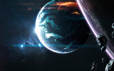 Wall Mural - Planet explosion. Apocalypse. Elements of this image furnished by NASA