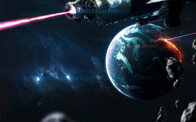 Wall Mural - Science fiction visualisation of planet war. Elements of this image furnished by NASA