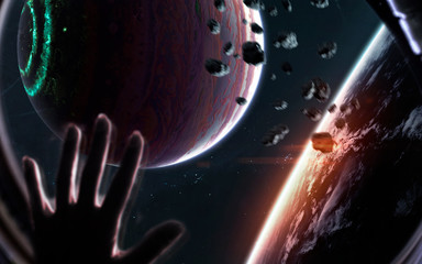 Science fiction visualisation of deep space planets and galaxies. Elements of this image furnished...