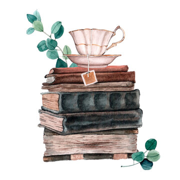 Watecrolor illustration of old books composition with leaves and flowers.