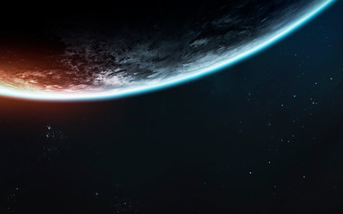 Fototapete - Earth planet scale. Exploration of space. Awesome science fiction render. Elements of this image furnished by NASA
