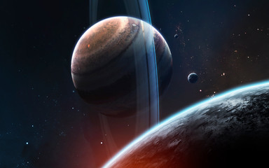Wall Mural - Ringed gas giant planet somewhere in deep space. Awesome science fiction render. Elements of this image furnished by NASA