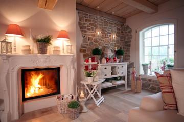 Kamin Wohnzimmer gemütlich zuhause Kaminfeuer