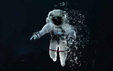 Wall Mural - Modern art of astronaut at deep space. Pixelization. Elements of this image furnished by NASA