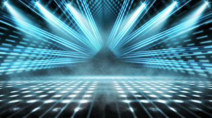 Background of empty stage show. Neon light and laser show. Laser futuristic shapes on a dark...