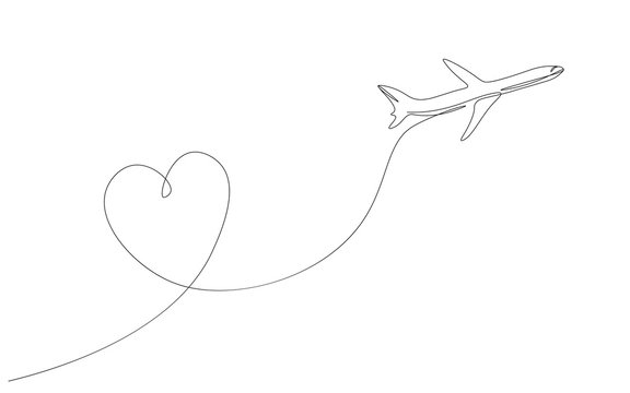 Airplane with heart love travel one  line drawing vector illustration