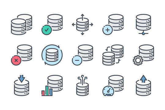 Database related color line icon set. Server and backup linear icons. Data hosting and web storage colorful outline vector sign collection.