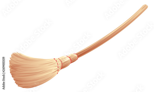 One Brown Broom With Long Wooden Handle Witch Broomstick Isolated