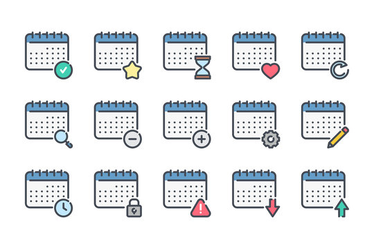 Calendar related color line icon set. Planner linear icons. Calendar services colorful outline vector sign collection.