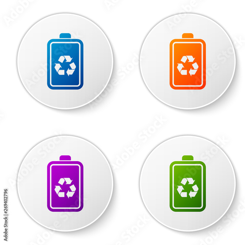 Color Battery with recycle symbol line icon isolated on